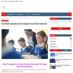How To Apply For Any Private School Job