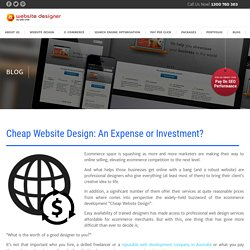 Cheap Website Design: An Expense or Investment?