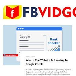 Where The Website Is Ranking In Google Check - FBVIDGO Blog - Facebook Video Downloader