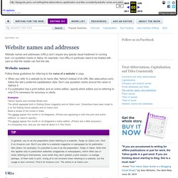 Website names and addresses