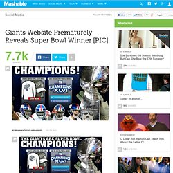 Giants Website Prematurely Reveals Super Bowl Winner [PIC]