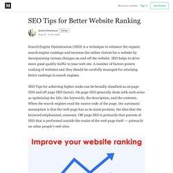 SEO Tips for Better Website Ranking
