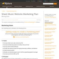 Sheet Music Website Sample Marketing Plan - Marketing Vision