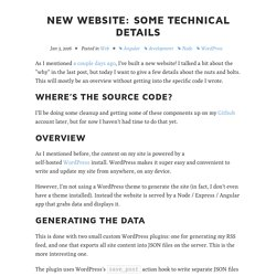 New Website: Some technical details