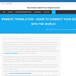 Website Translation – Door To Connect Your Services With The World!