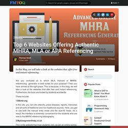 Top 6 Websites Offering Authentic MHRA, MLA or APA Referencing