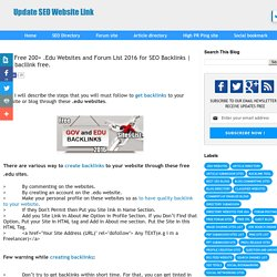 Top Free 200+ .Edu Websites and Forum List 2016 for SEO Backlinks