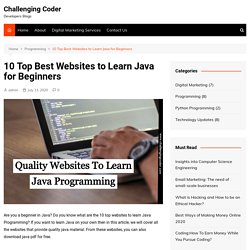 10 Top Best Websites to Learn Java for Beginners - Challenging Coder