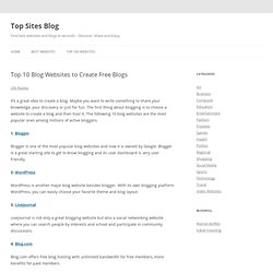 Top 10 Blog Websites to Create Free Blogs | Top Sites Blog