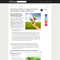 Free Photo Websites for Blogs and Hubs - Creative Commons Photographs
