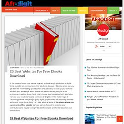 25 Best Websites For Free Ebooks Download - Afrodigit.com