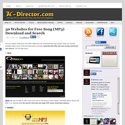 30 Websites for Free Song (MP3) Download and Search