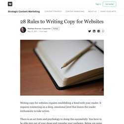 28 Rules to Writing Copy for Websites - Strategic Content Marketing - Medium