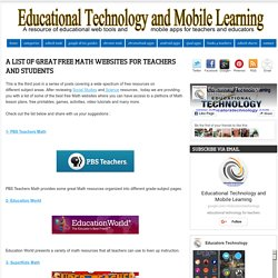 A List of Great Free Math Websites for Teachers and Students