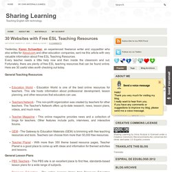 30 Websites with Free ESL Teaching Resources ~ Sharing Learning