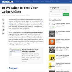 [Code/Test]15 Websites To Test Your Codes Online
