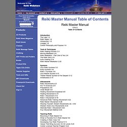 The Reiki Webstore - Reiki Master Manual Table of Contents