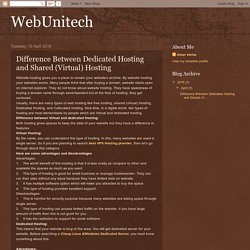 WebUnitech: Difference Between Dedicated Hosting and Shared (Virtual) Hosting