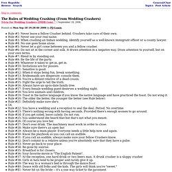The Rules of Wedding Crashing (From Wedding Crashers)