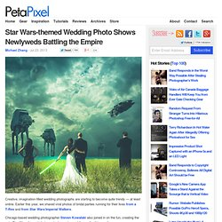 Star Wars-themed Wedding Photo Shows Newlyweds Battling the Empire