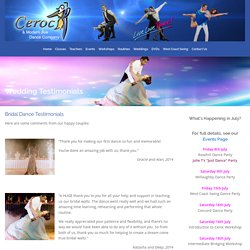 Wedding Testimonials - Ceroc and Modern Jive Dance Company