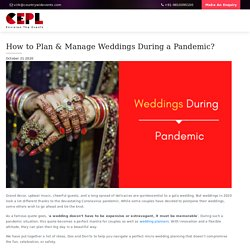 How to Plan & Manage Weddings During a Pandemic? - Countrywide