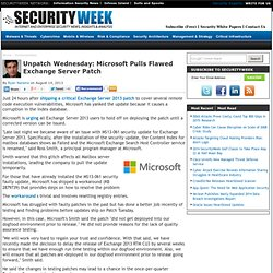 Unpatch Wednesday: Microsoft Pulls Flawed Exchange Server Patch