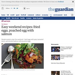 Easy weekend recipes: fried eggs, poached egg with salmon