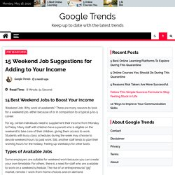 15 Weekend Job Suggestions for Adding to Your Income - Google Trends