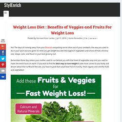 Weight Loss Diet : Benefits of Veggies and Fruits For Weight Loss