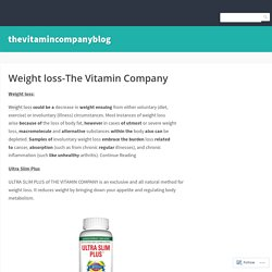 Weight loss-The Vitamin Company – thevitamincompanyblog