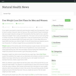 Free Weight Loss Diet Plans for Men and Women – Natural Health News