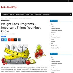 Weight Loss Programs - Important Things You Must know - Gud Health Tips