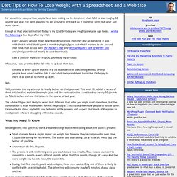 Diet Tips or How To Lose Weight with a Spreadsheet and a Web Site