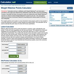 Weight Watcher Points Calculator