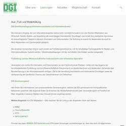Deutsche Gesellschaft für Information & Wissen e.V. - Aus-, Fort- und Weiterbildung