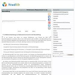 Weiterentwicklung zur Balanced Scorecard in der Beschaffung - Performance Measurement in der Beschaffung - Studlib - freie digitale bibliothek