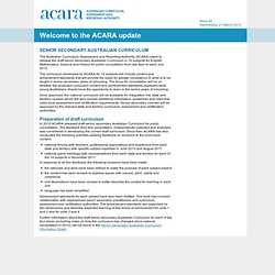 Welcome to the ACARA update | Acara update