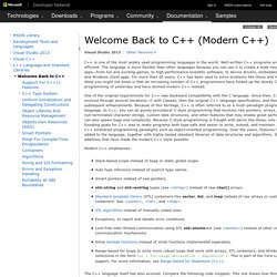 Welcome Back to C++ (Modern C++)