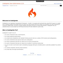Welcome to CodeIgniter : CodeIgniter User Guide