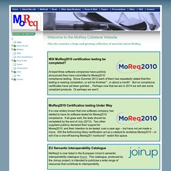 Welcome to the MoReq Collateral Website