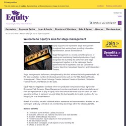 Welcome to Equity's area for stage management - Equity