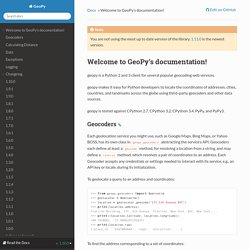 Welcome to GeoPy's documentation! — GeoPy 1.11.0 documentation