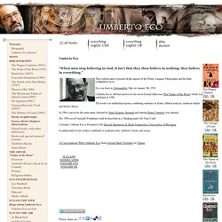 Welcome to the home page of Umberto Eco