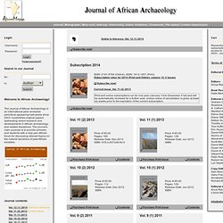 Welcome to the Journal of African Archaeology - Home