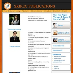 Welcome to Skirec Journals Publications