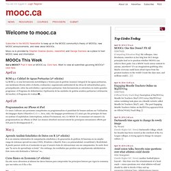 Welcome to MOOC.CA ~ MOOC
