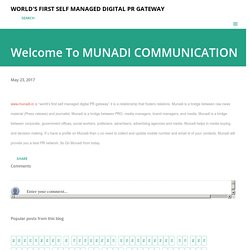 Welcome To MUNADI COMMUNICATION