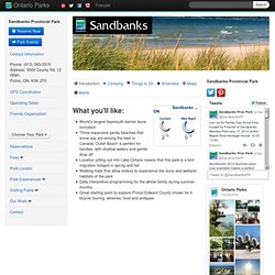 Welcome to Sandbanks Provincial Park