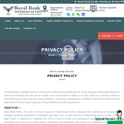 Privacy Policy - Royal Bank Pacific